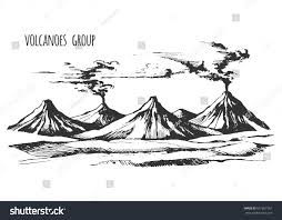volcanoes group landscape vector sketch smoke stock vector