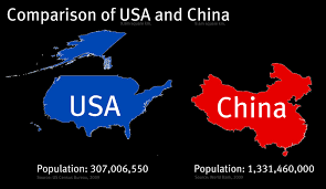 Population Map Of China by Under The Raedar The Size Of Countries Usa And China
