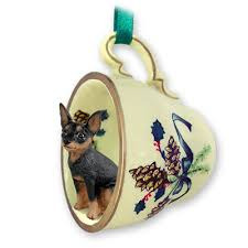 miniature pinscher black tea cup green ornament