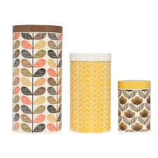 bring orla kiely s signature style to the kitchen with this set of bring orla kiely s signature style to the kitchen with this set of three assorted canisters
