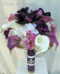 silk wedding flowers plum lavender wedding bouquet calla orchid silk wedding