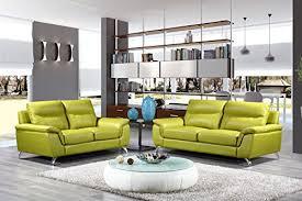 Genuine Leather Sofa And Loveseat Cortesi Home Chicago Genuine Leather Sofa U0026 Loveseat Set Green