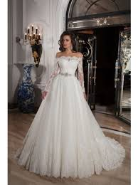 classic off shoulder wedding dress with long sleeves and gorgeous