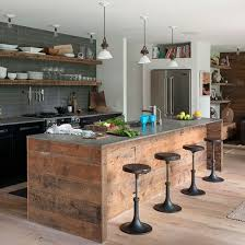 cuisines rustiques bois cuisines cuisine rustique bois avec grand frigo style americain