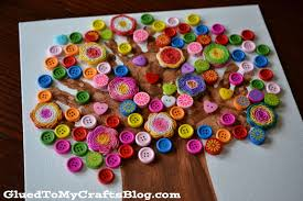 handprint button tree kid craft glued to my crafts