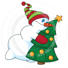 cartoon snowman and christmas tree by polkan toon vectors eps 14530