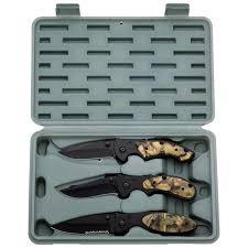 maxam kitchen knives maxam 3pc liner lock knife set with camouflage handles and sklwcam3