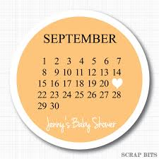 save the date calendar labels personalized baby shower