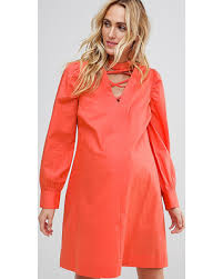 holiday savings on asos maternity dress with lattice front orange