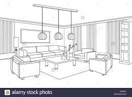 living room view interior outline sketch furniture blueprint