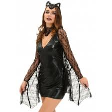Black Leather Halloween Costumes Black Bat Cosplay Suit Long Sleeve Faux Leather Dress Halloween