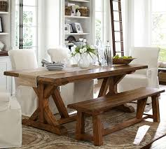 Best  Farmhouse Table With Bench Ideas On Pinterest Kitchen - White kitchen table with bench
