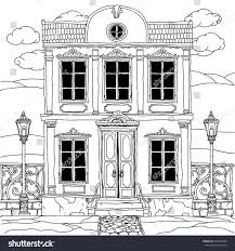 house drawing details coloring book stock vector 428336608