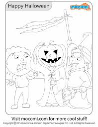 happy halloween colouring colouring pages kids mocomi
