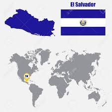 Flag El Salvador El Salvador Map On A World With Flag And Pointer Vector