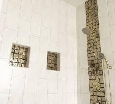 Waterfall Glass Tile Bathroom Shower Ceramic Motif 8x20 Crema Brickbond Vertical Glass