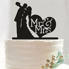 silhouette bride and groom figurines acrylic wedding cake cupcake