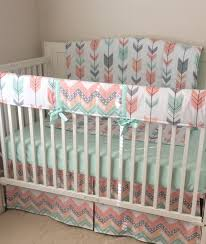 blush pink ciral gray and mint arrows and fox crib bedding