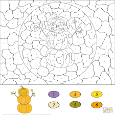 halloween scene color by number free printable coloring pages