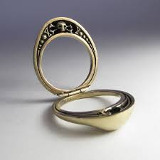 mourning ring split steunk mourning ring in solid bronze with skull and