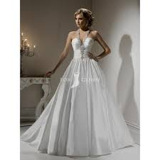 brautkleider neckholder taft ballkleid mit perlen verziert weißen hochzeitskleid