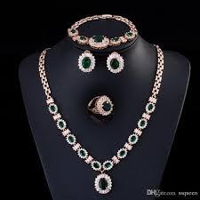 rhinestone necklace sets wholesale images Wholesale luxury and royal emerald green cz diamond bridal dinner jpg