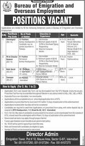 in bureau vacant in bureau of emigration and overseas employment