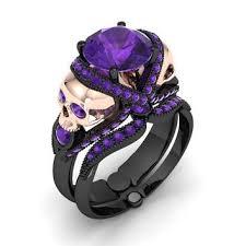 black and purple engagement rings skull engagement ring eye popper amethyst garb ideas
