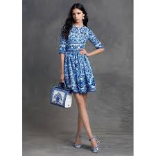 designer cocktail dresses designer style 3 4 sleeves blue ceramic floral print cocktail