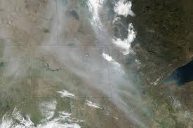 Alberta Wildfire Satellite Images by Smoke From Alberta Streams Into The United States Natural Hazards