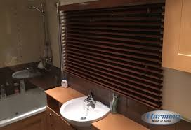 Colourful Roller Blind Bathroom Dark Walnut Coloured Wooden Blinds In A Bathroom Harmony Blinds