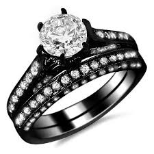 black gold wedding sets 14k black gold six prong engagement ring bridal set
