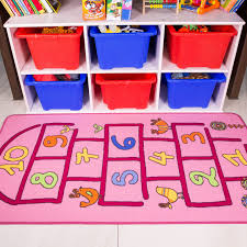 Girls Pink Rug Fun Interactive Girls Pink Hopscotch Kids Rug Kukoon