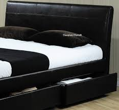 bed frames houston houston black faux leather 4 storage drawer bed