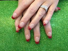 acrylic nails with red glitter tips nic senior flickr