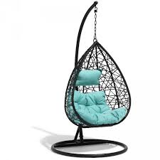 siege suspendu jardin fauteuil suspendu chill noir et bleu lagon transat hamac