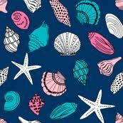 shells fabric wallpaper u0026 gift wrap spoonflower