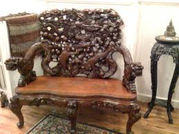Antique Wooden Bench For Sale by Japanese Meiji Period Export Carved Cherry Wood Bench For Sale