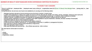Barber Resume Example by Barber Or Beauty Shop Manager Work Experience Certificate
