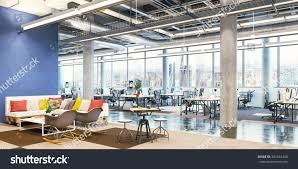 office workplace modern office interior office stock illustration