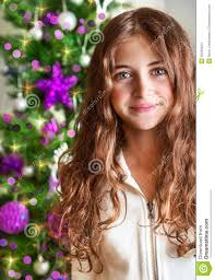 sweet portrait near christmas tree stock images image 35240524