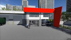 grey and red wall modern office building plans with concrete floor