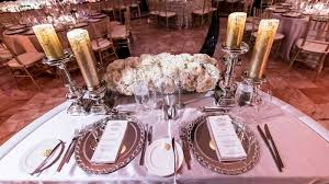 Table Setting Chargers - reception décor photos sweetheart table place setting inside