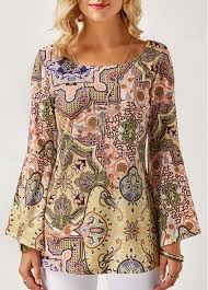 printed blouse scoop neck flare sleeve printed blouse liligal com usd 30 16