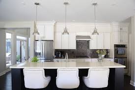 Kitchen Cabinets Virginia White Kitchen Cabinets With Black Island And Linen Barstools Via