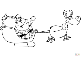 santa claus riding his sleigh coloring page free printable