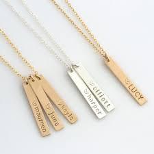 necklace with kids names vertical bar necklacenew necklacename bar