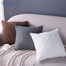 bedding decorative pillows knitted wool cushion cover super soft pillow cover solid sofa waits