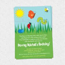 bug insects birthday party invitations summer butterfly bee