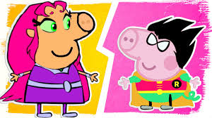 peppa pig as teen titans go coloring pages fun coloring videos